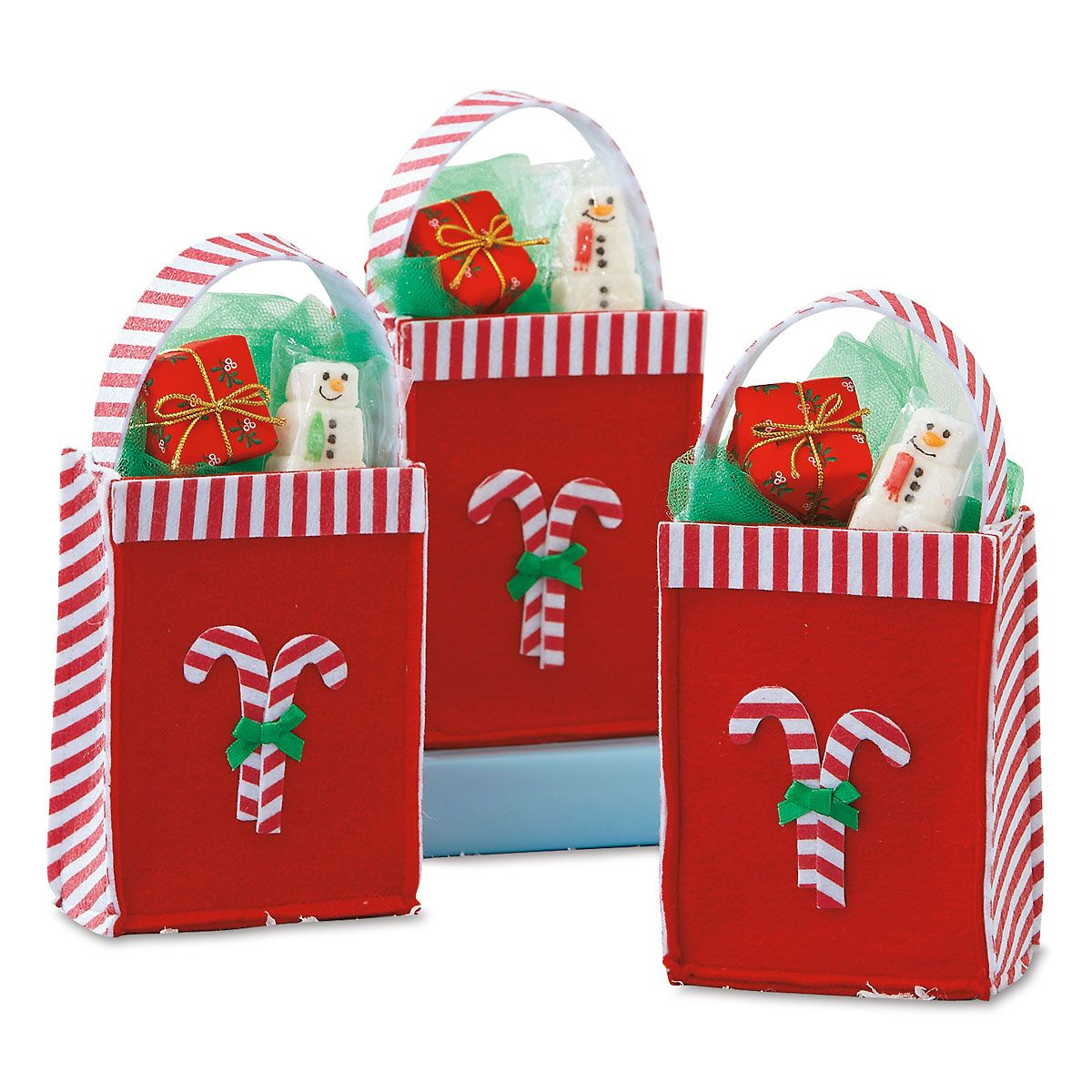 Candy Cane Felt Treat Bags