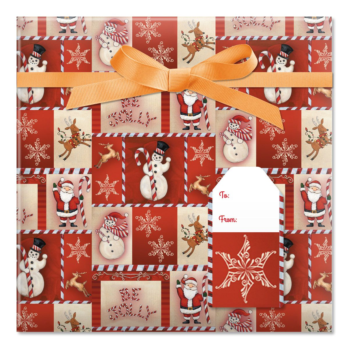 Be Jolly Jumbo Rolled Gift Wrap and Labels