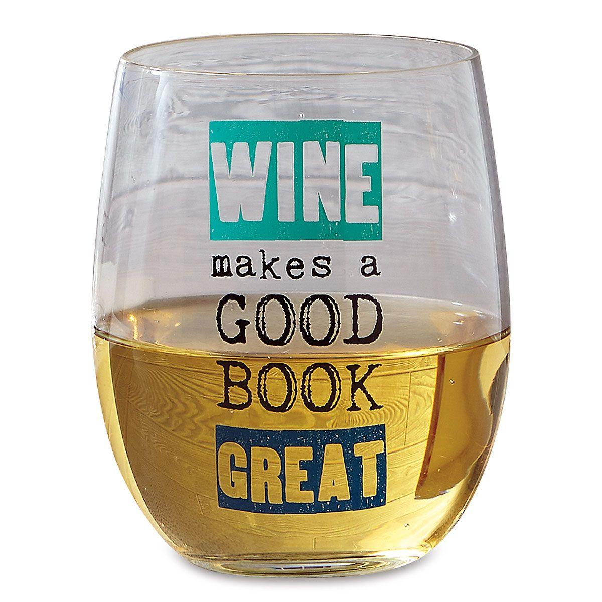 Wine Book Club Stemless Wine Glass