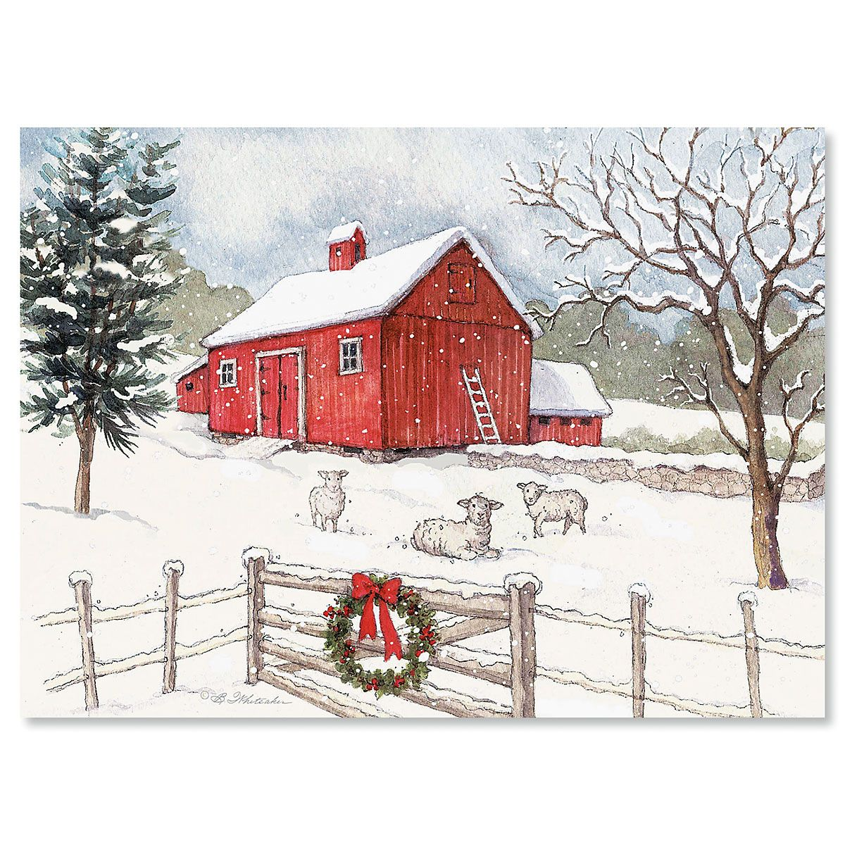 Country Barn Personalized Christmas Cards - Set of 18