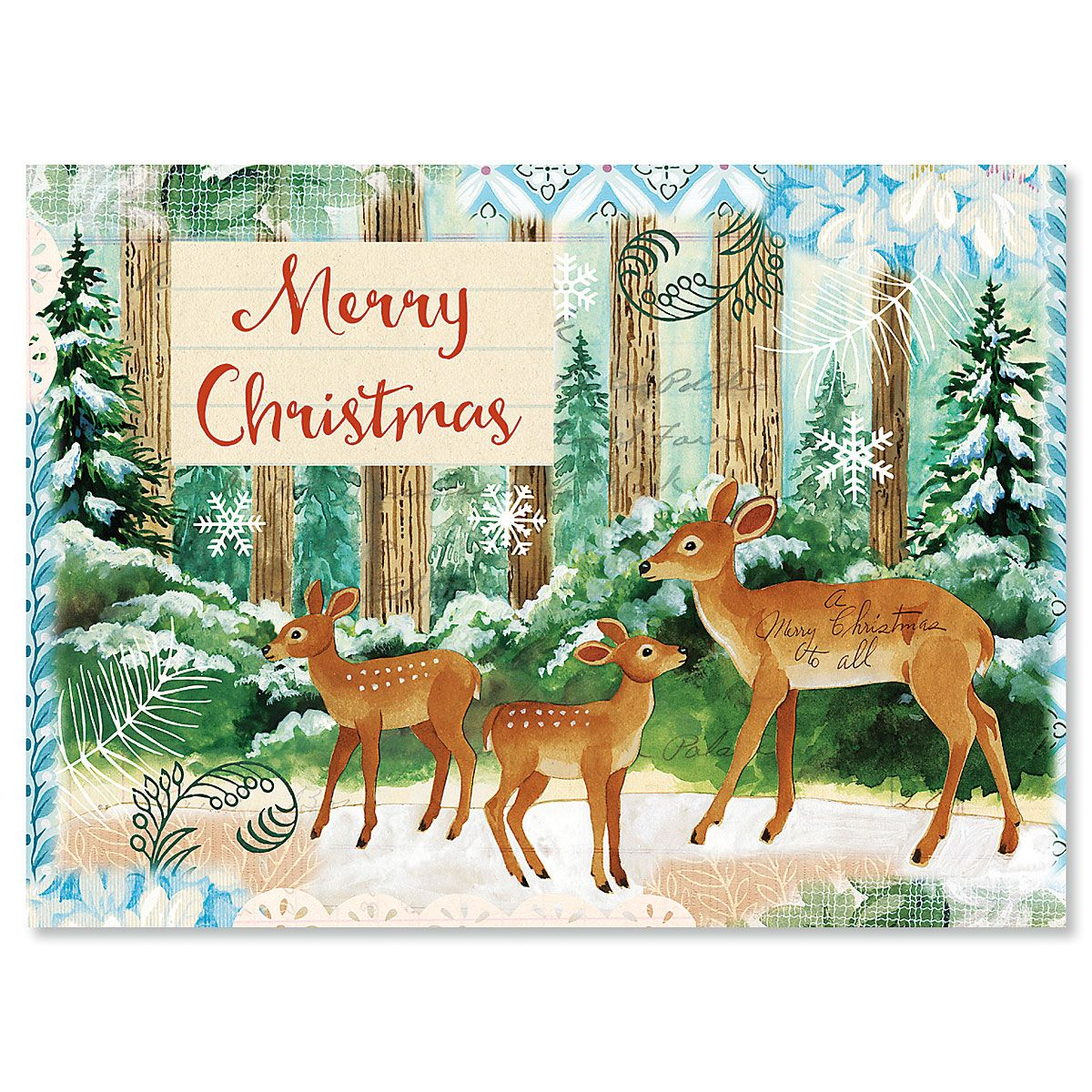 Deer Family Nonpersonalized Christmas Cards - Set of 18