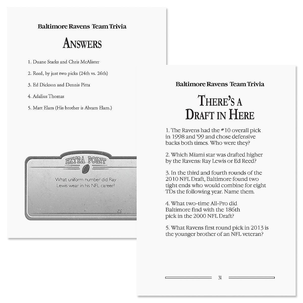 Baltimore Ravens NFL Team Trivia Book