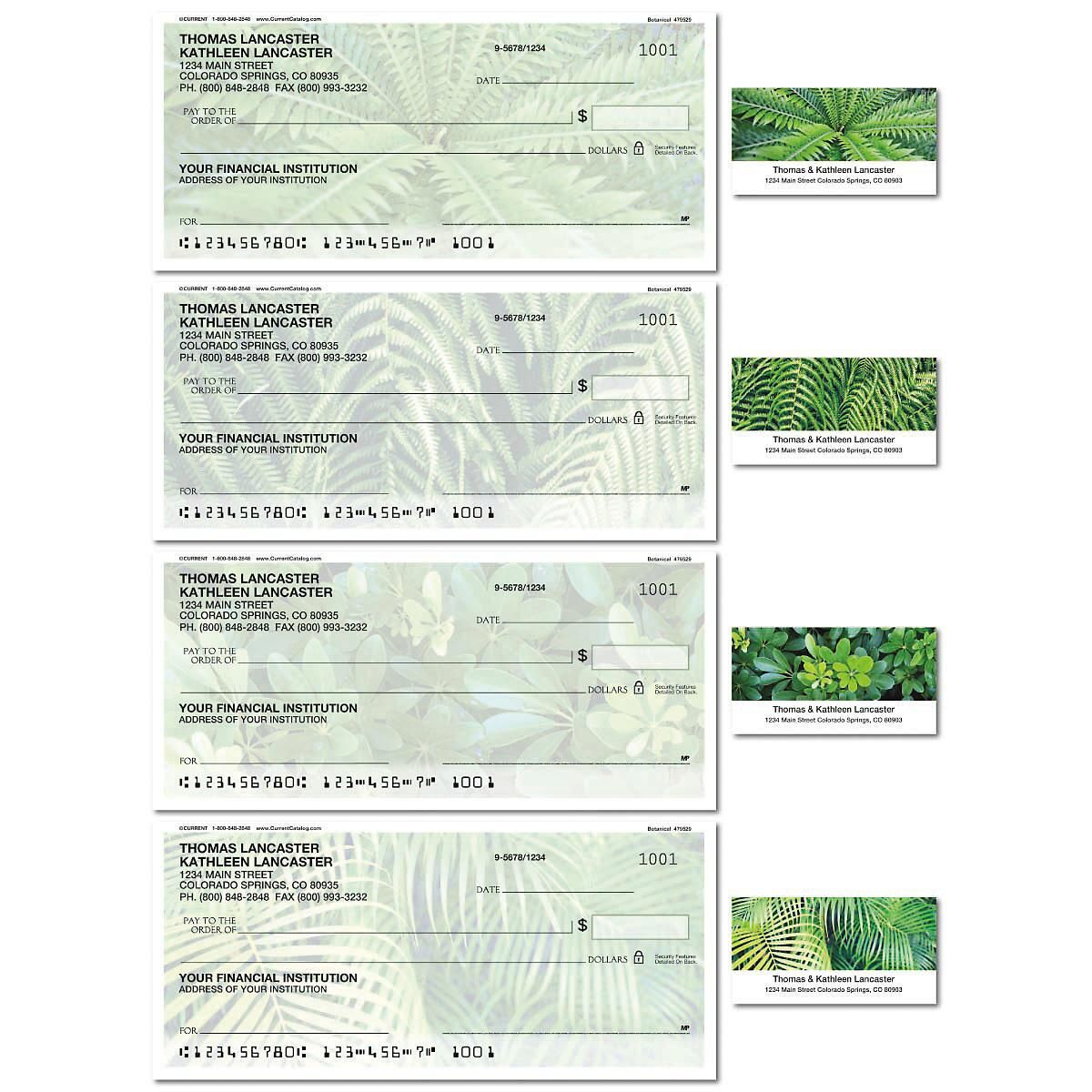 Botanical Single Checks with Matching Labels