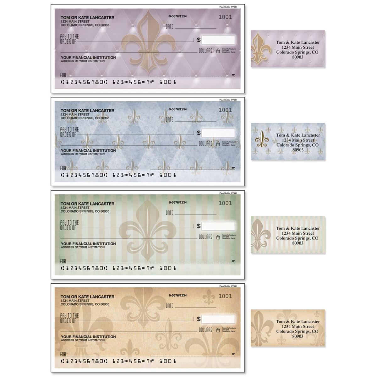 Bronze Fleur De Lis Single Checks With Matching Address Labels