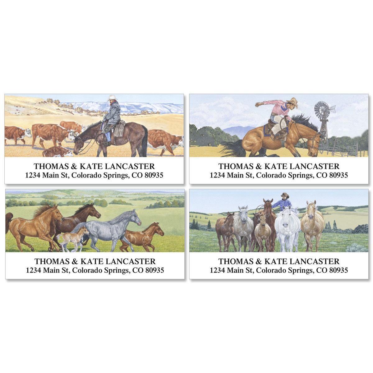 Cowboy Deluxe Address Labels  (4 designs)
