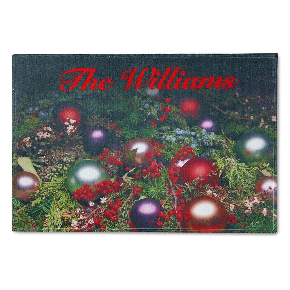 Ornaments & Pinecones Personalized Welcome Doormat