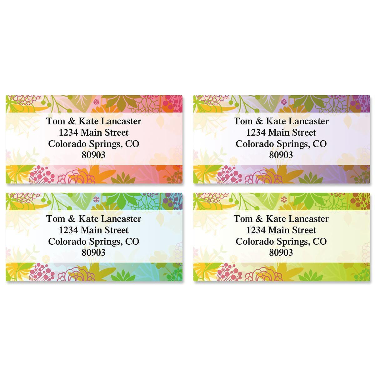 Floret Border Address Labels  (4 Designs)