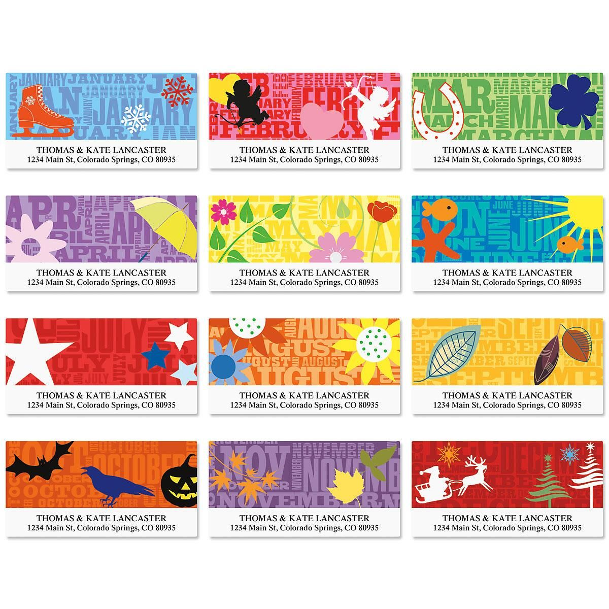Graphic Style Deluxe Address Labels  (12 Monthly Designs)