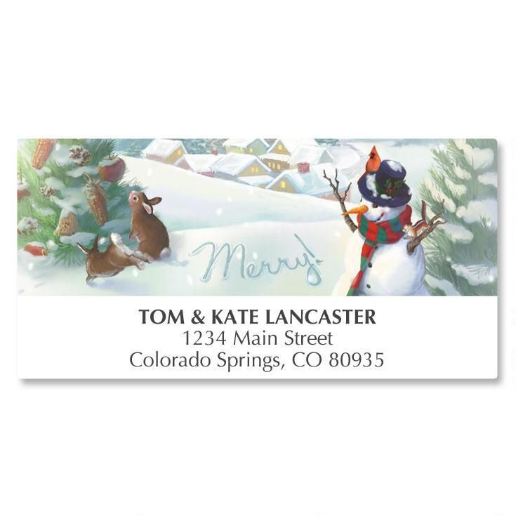 Merry Snowman Deluxe Address Labels