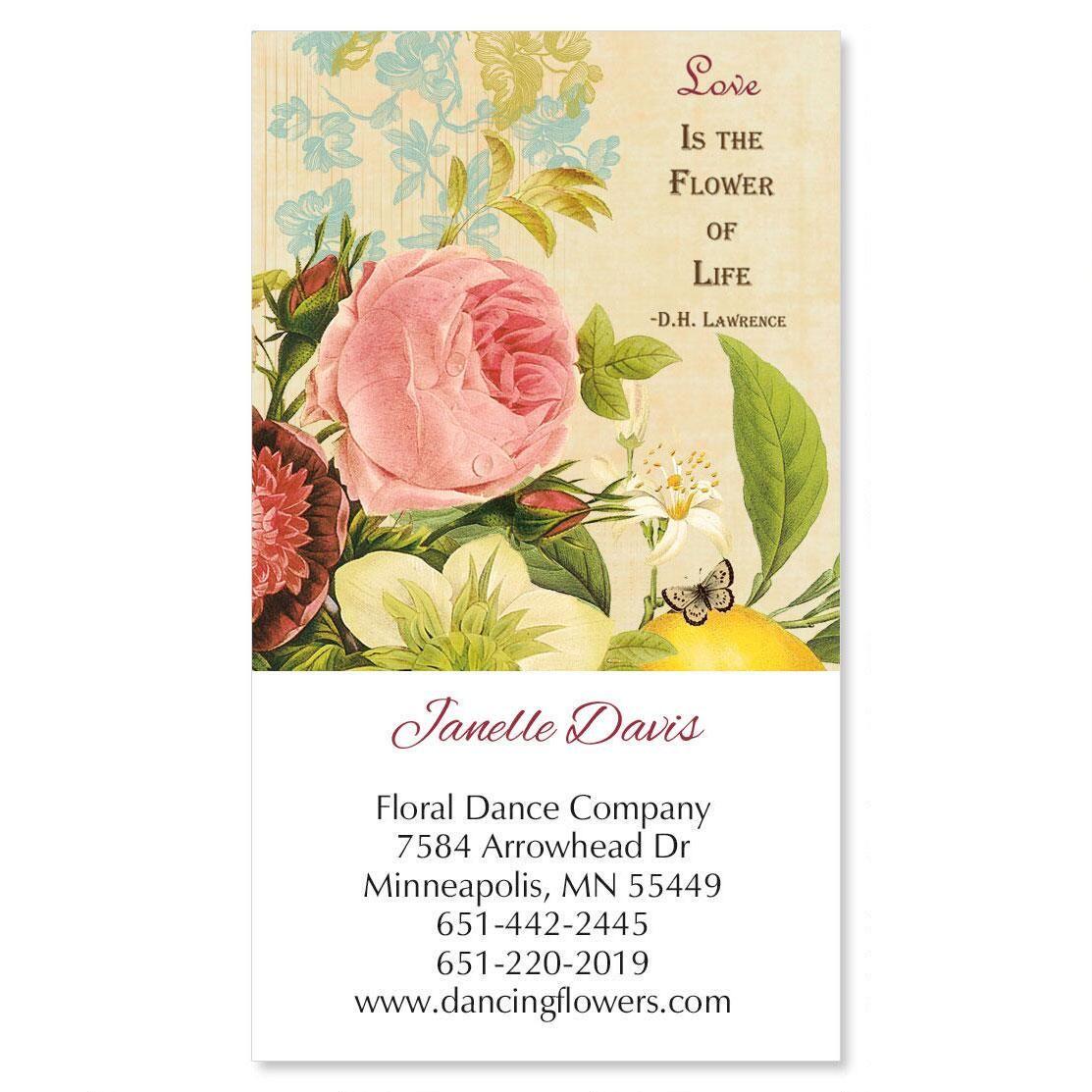 Natures Flora Vertical Calling Card