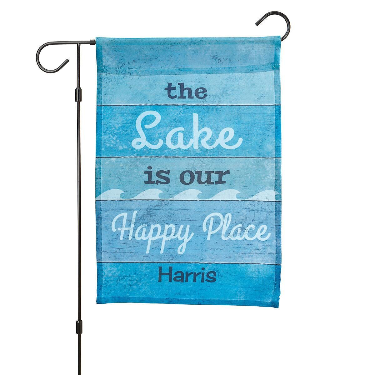 Personalized Lake Garden Flag and Garden Flag Stand