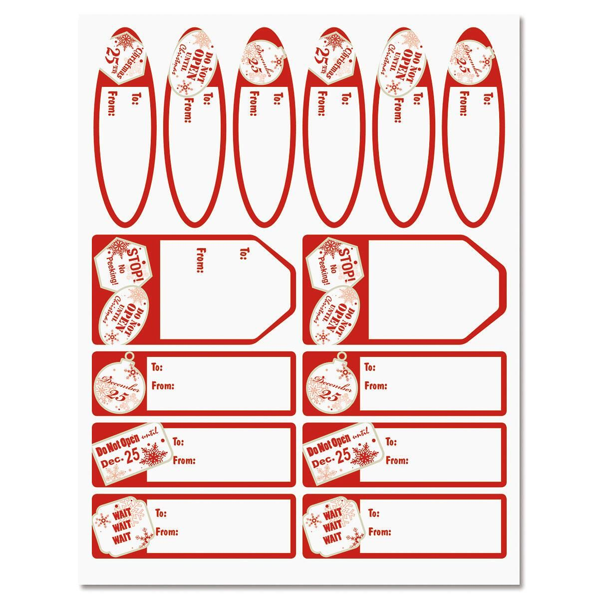 Red Tag Christmas Labels