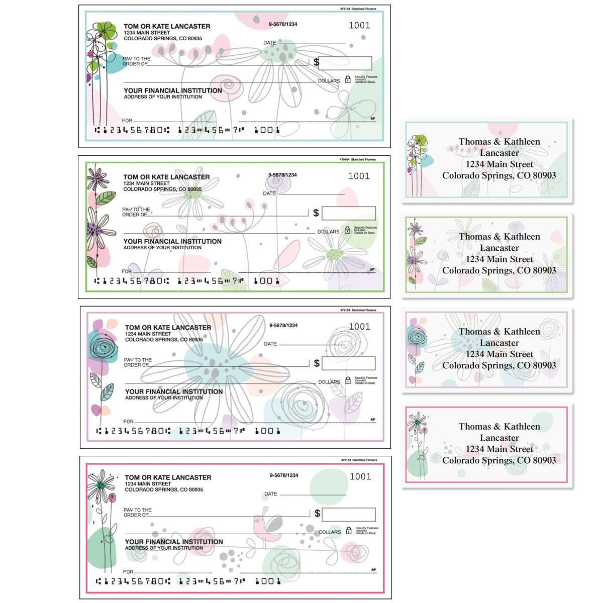 Sketched Flowers Single Checks with Matching Address Labels