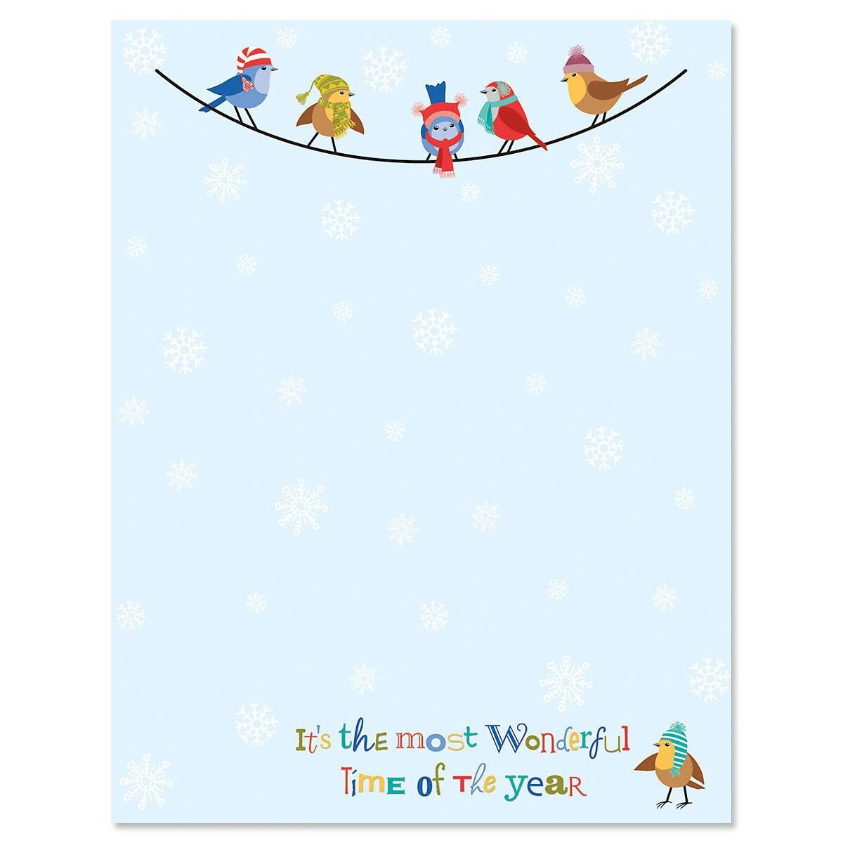Snowflakes and Birds Christmas Letter Papers