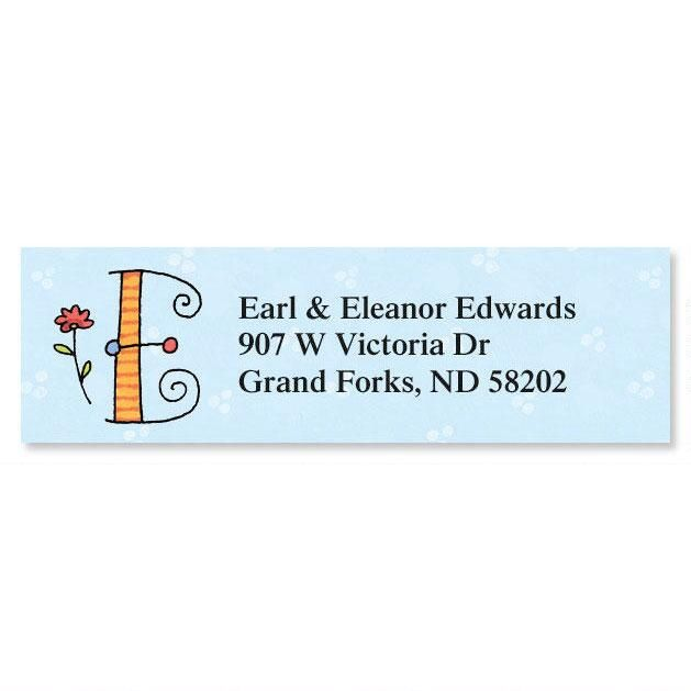Sue Dreamer Initial Classic Address Labels