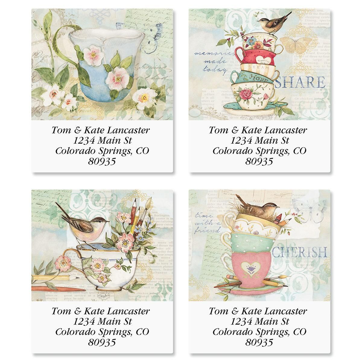 Teacups Select Address Labels  (4 Designs)