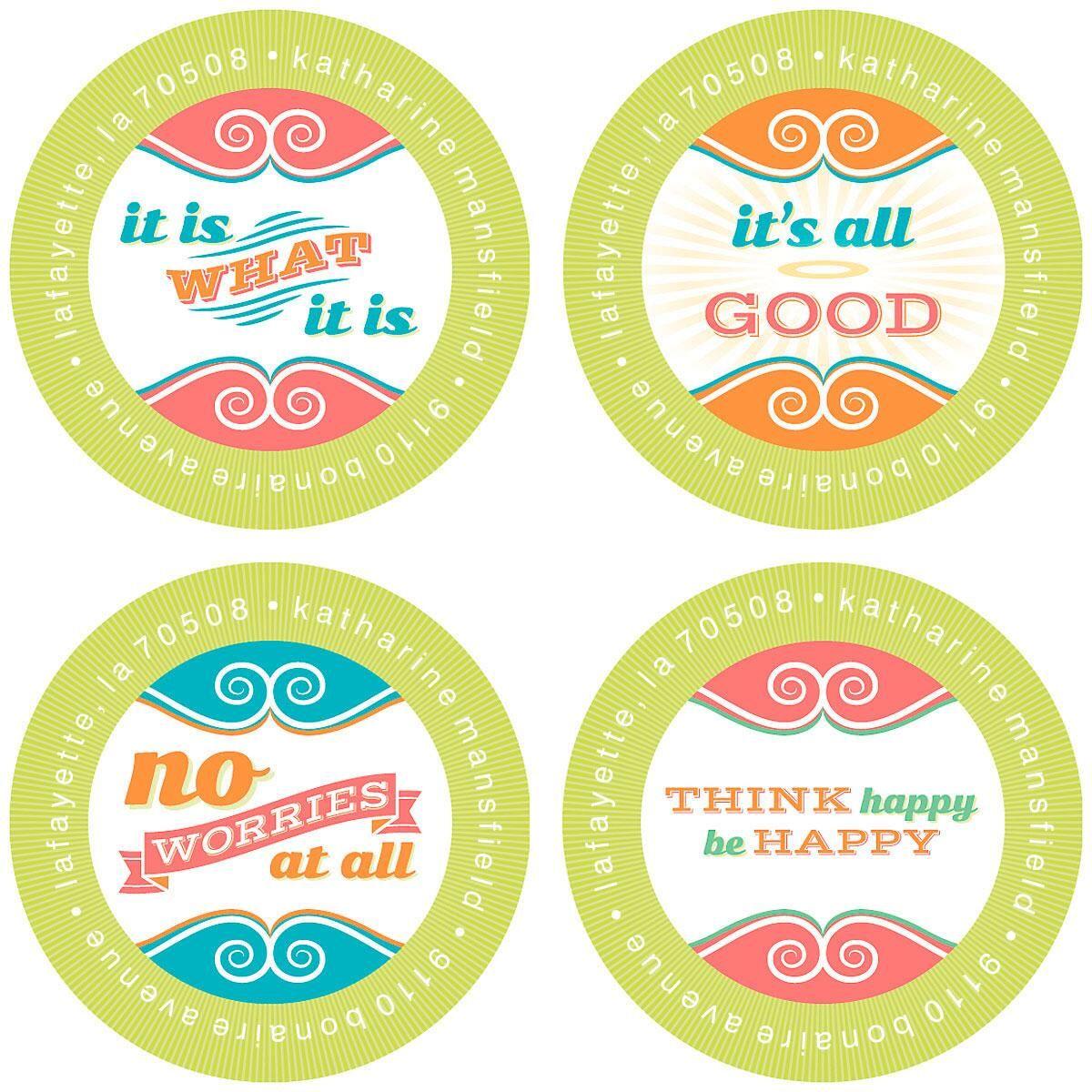 Think Happy Round Address Labels  (4 Designs)