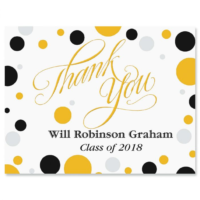 Dots Graduation Personalized Thank You Note Cards
