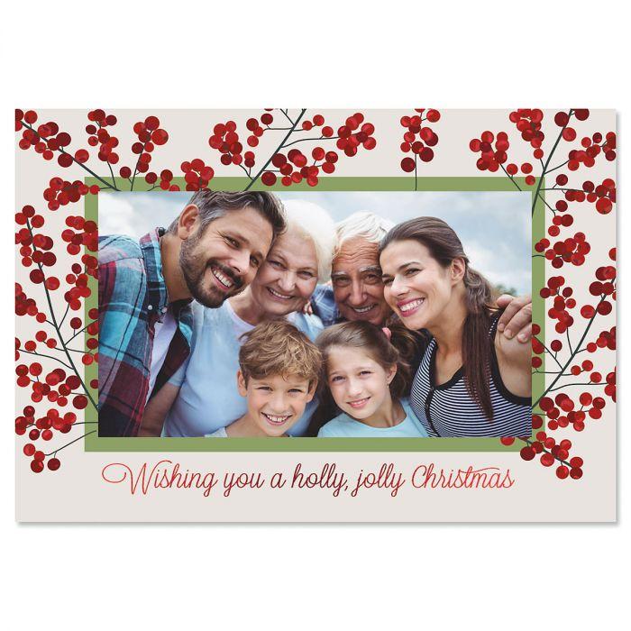 Holly Jolly Photo Sleeve Christmas Cards