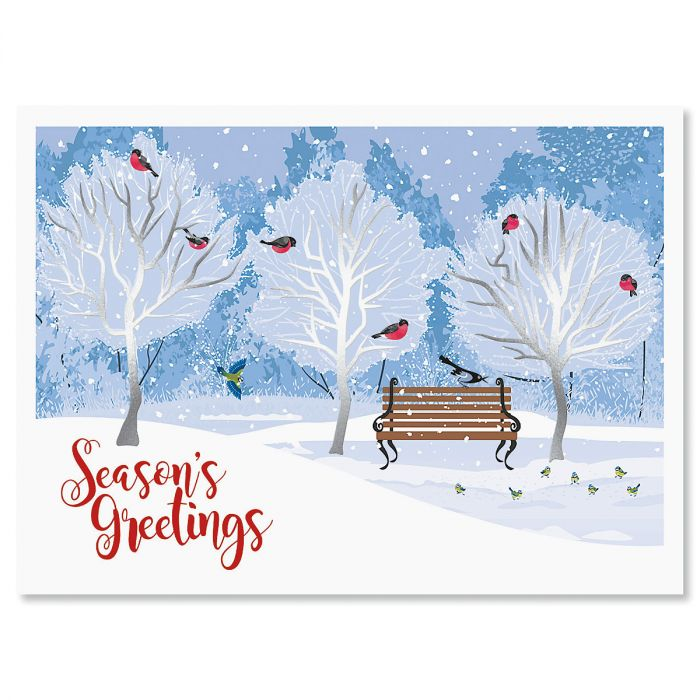 Winter Trees Nonpersonalized Deluxe Christmas Cards - Set of 14