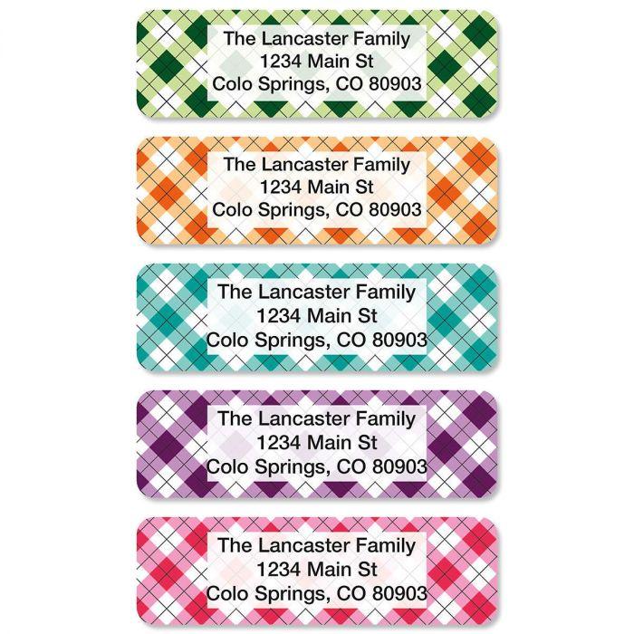 Argyle Rolled Address Labels  (5 Designs)