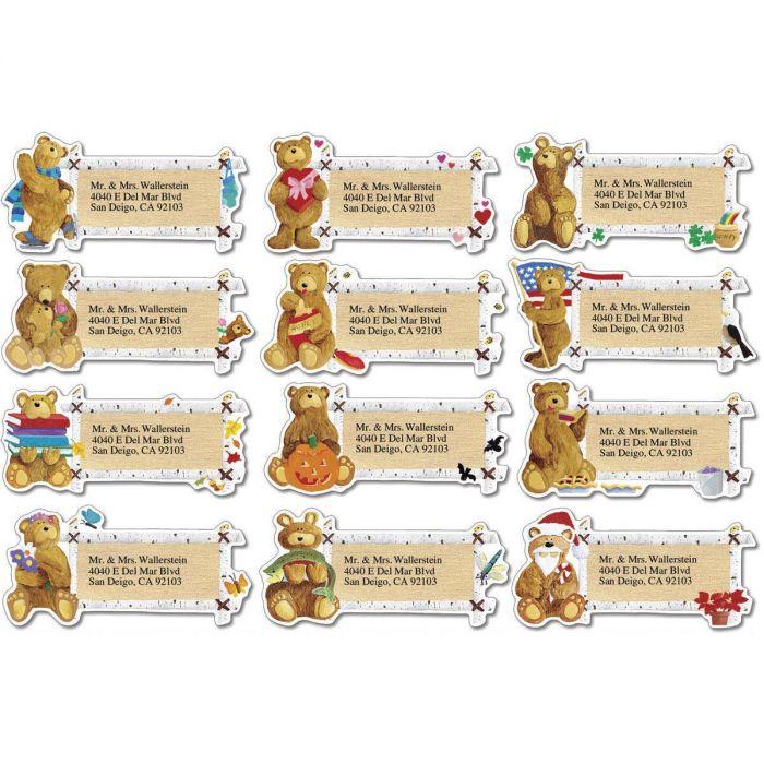 Bear Lodge Buddies Year-Round Diecut Address Labels  (12 Designs)
