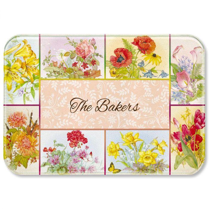 Beautiful Flowers Tempered Glass Cutting Board