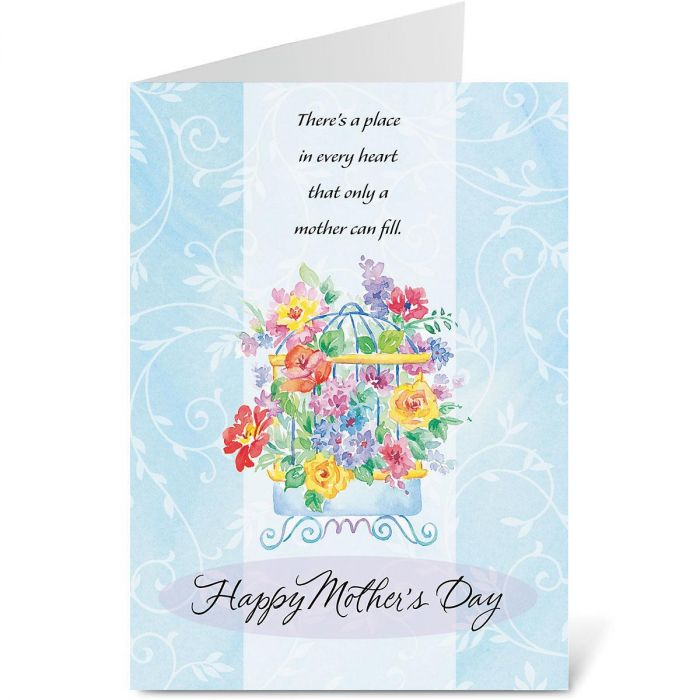 Birdcage with Flowers Mother's Day Card