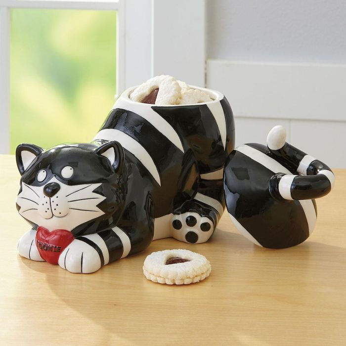 Black and White Striped Cat Cookie Jar