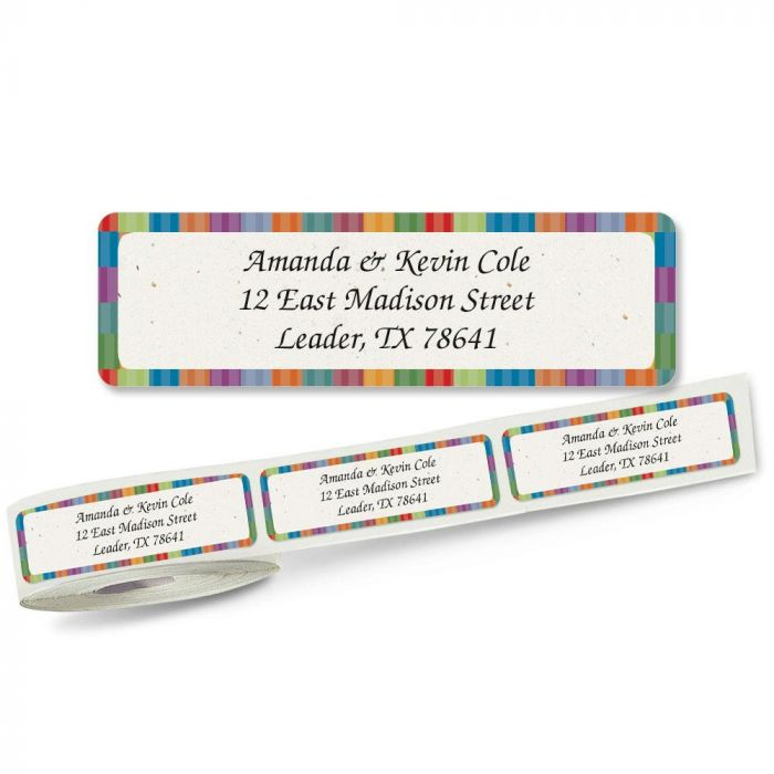 Bright Stripes Rolled Address Labels