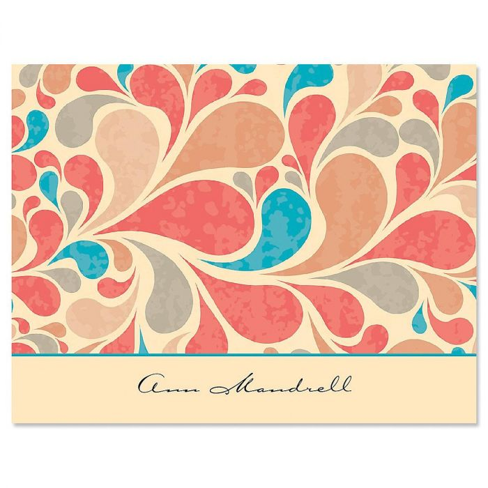 Coral Waves Personalized Note Cards