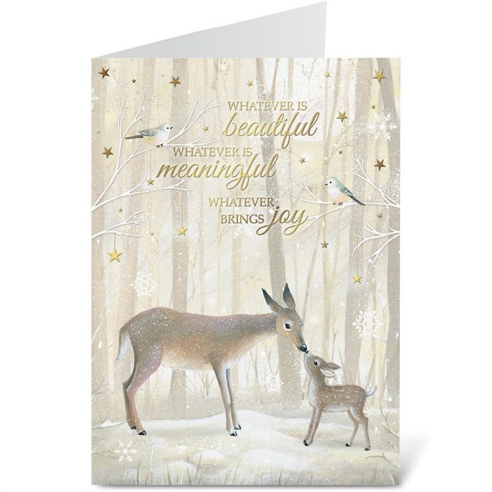 Deer and Fawn Personalized Deluxe Christmas Cards - Set of 14