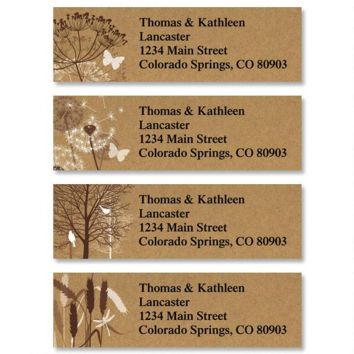Kraft Foliage Classic Address Labels  (4 Designs)