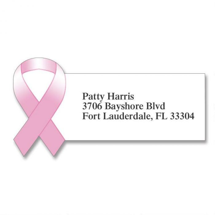Pink Ribbon Diecut Address Labels