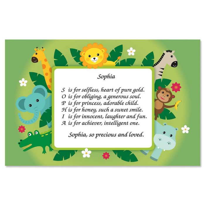 Safari Name Poem Kids' Placemats