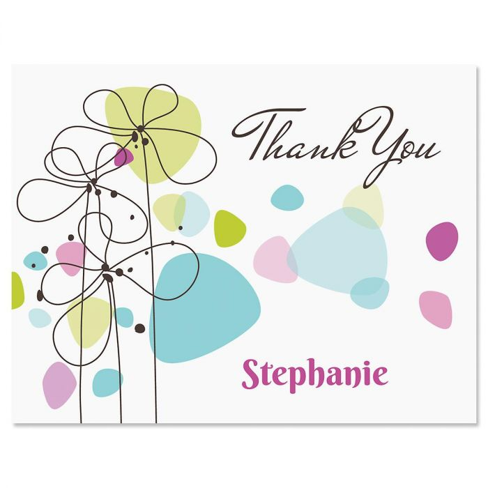 Sketched Flowers Personalized Thank You Cards