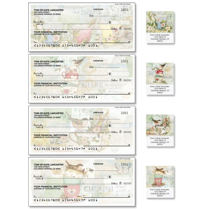 Teacups Single Checks with Matching Labels