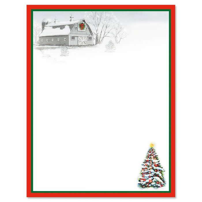 Winter Barn Christmas Letter Papers